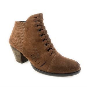 Free People Suede Ankle Woven Booties Loveland